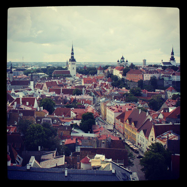 Estonia, Tallinn. Old town defence towers.